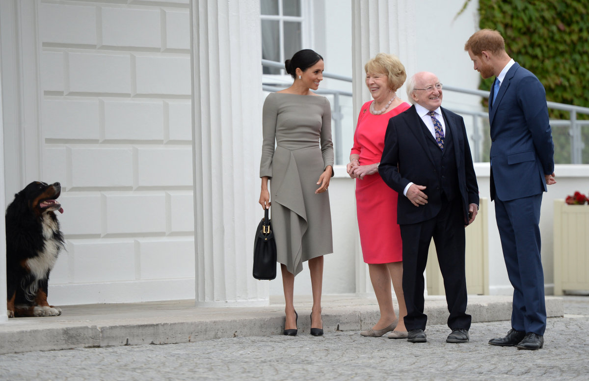 Meghan, Duchess of Sussex and Prince Harry, Duke of Sussex, meet Ireland's President, Michael Higgins and his wife Sabina Coyne in Dublin, Ireland. Photo: Clodagh Kilcoyne/WPA Pool/Getty Images
