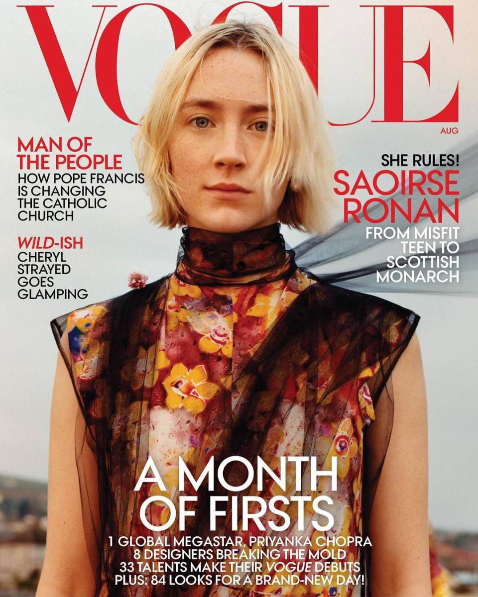 "Saoirse Ronan on the August cover of ""Vogue."" Photo: Jamie Hawkesworth/""Vogue"""