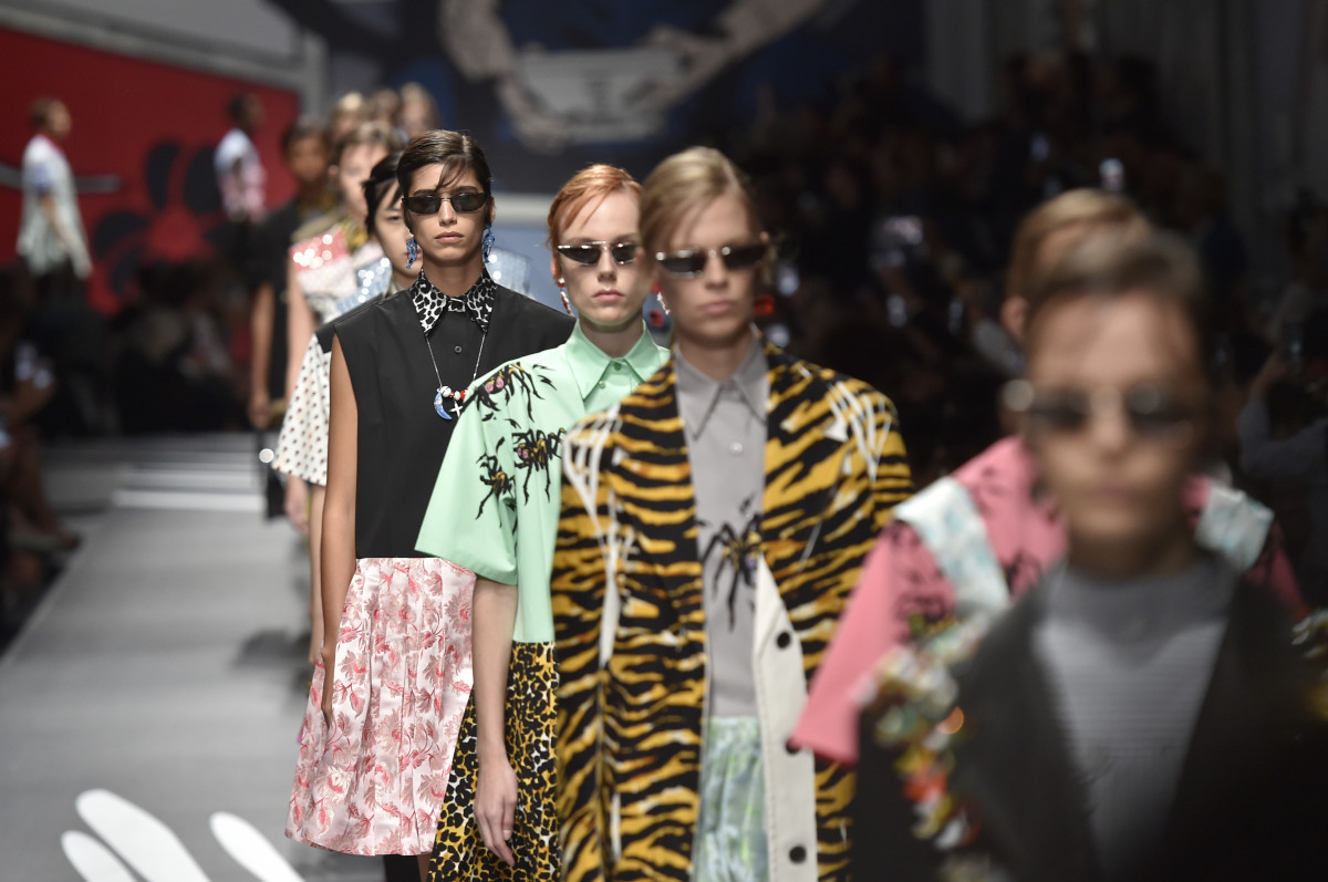 Looks from Prada's Spring 2018 collection. Photo: Catwalking/Getty Images