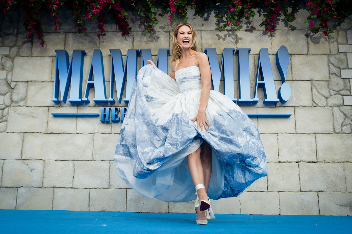 "Lily James at the UK premiere of ""Mamma Mia! Here We Go Again"" in London. Photo: Jeff Spicer/Getty Images"