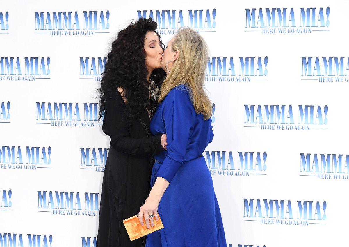 """Cher and Meryl Streep (in Marni)at the UK premiere of """"Mamma Mia! Here We Go Again"""" in London. Photo: Stuart C. Wilson/Getty Images for Universal Pictures"""