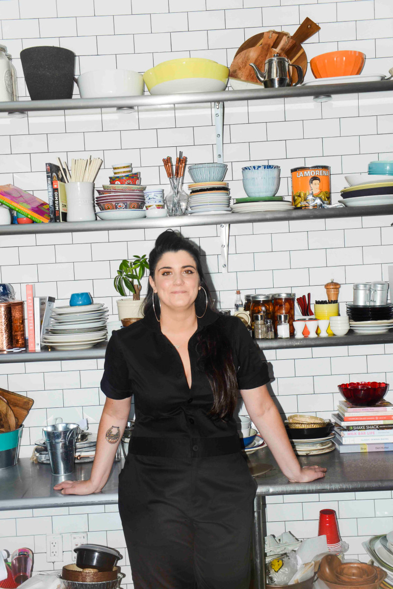 Cara Nicoletti, butcher, in Tilit's jumpsuit. Photo: Liz Barclay