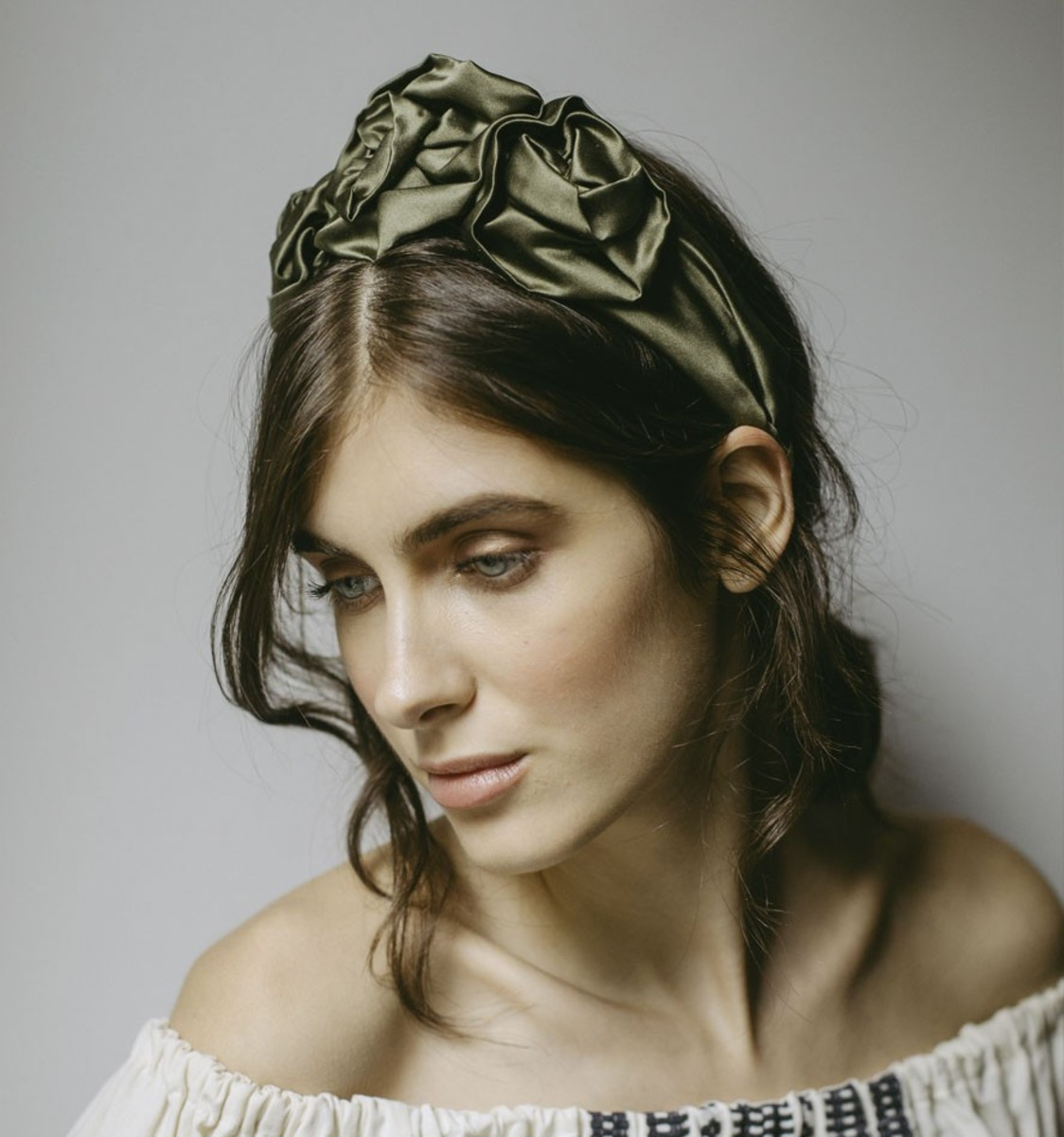 Jennifer Behr Rosette headband in Olive, $325, available here.