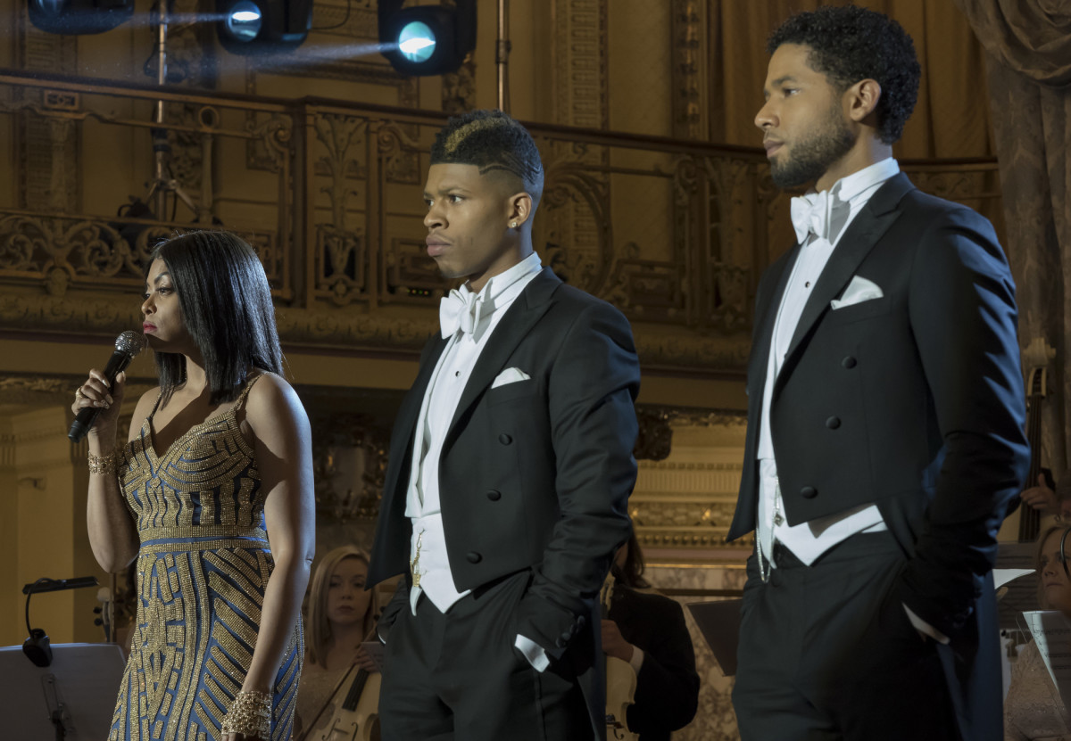 Cookie (Taraji P. Henson), Hakeem (Bryshere Y. Gray) and Jamal (Jussie Smolett) on 'Empire' with Emmy-nominated costume design by Paolo Nieddu. Photo: Chuck Hodes/FOX