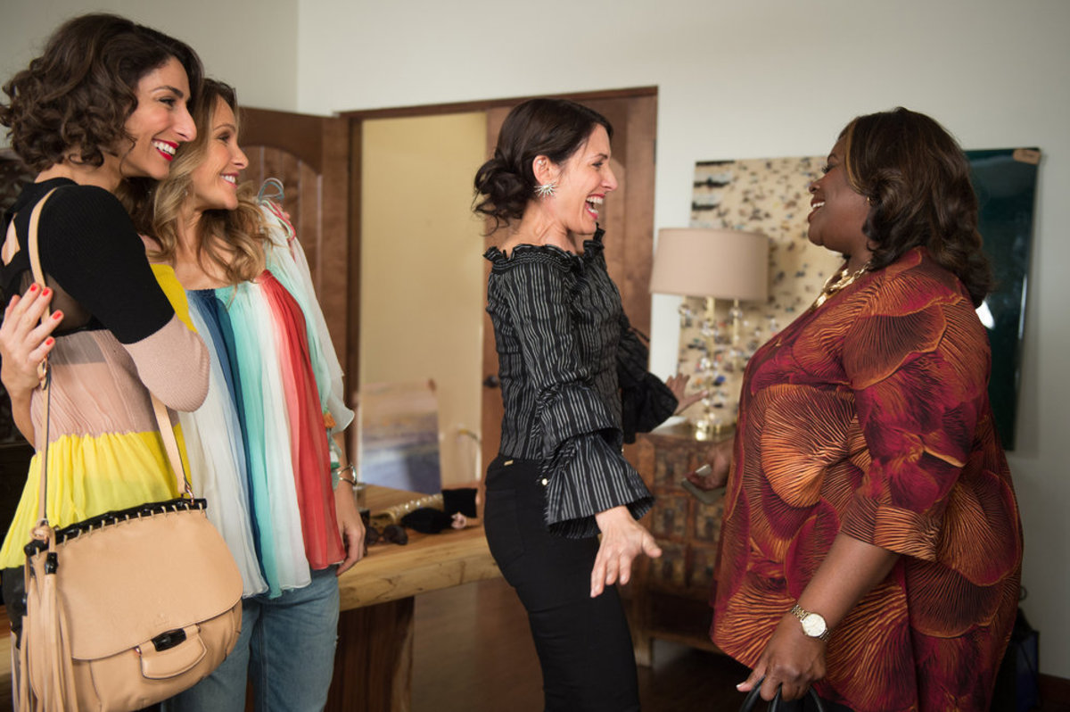 Delia (Necar Zadegan), Phoebe (Beau Garrett), Abby (Lisa Edelstein) and Barbara (Retta) on 'Girlfriends' Guide to Divorce' with costume design by Emmy nominee Cynthia Summers. Photo by: Diyah Pera/Bravo