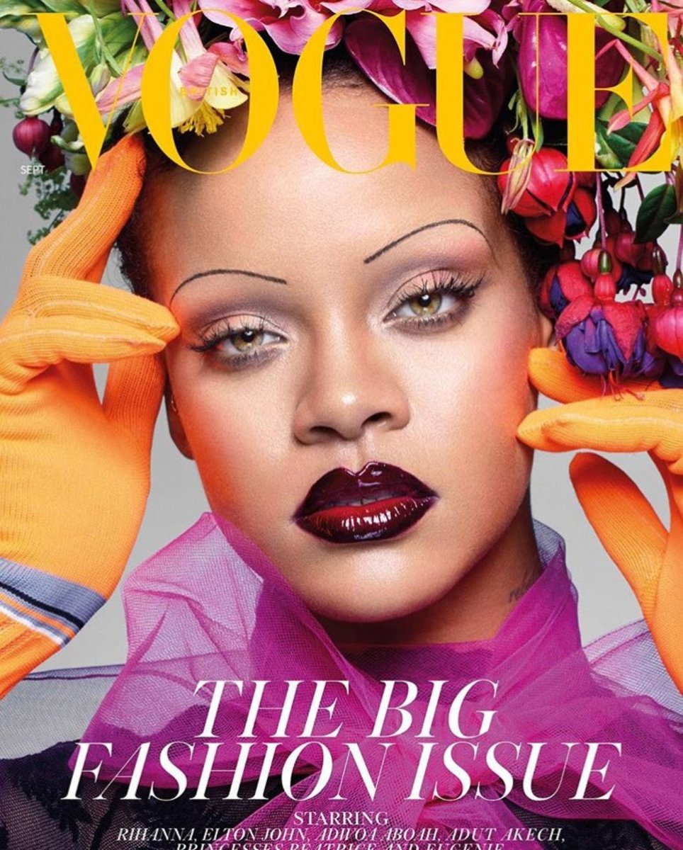 Rihanna wearing a Prada dress and gloves, Savage X Fenty bodysuit and afloral headpiece designed by Makoto Azuma for the September 2018 issue of British Vogue. Photo: Nick Knight/British Vogue