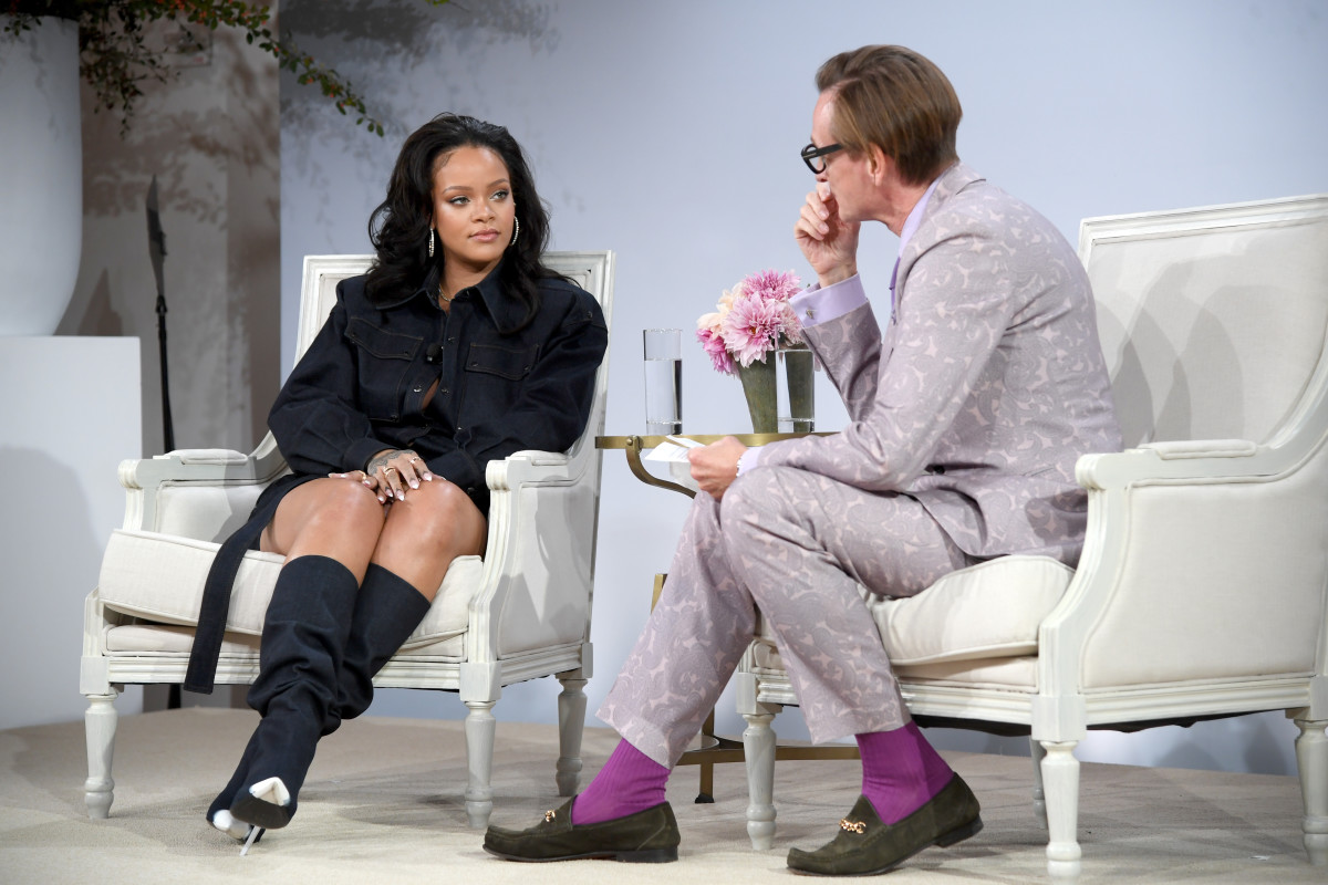 Rihanna and Hamish Bowles at the 2017 Vogue Forces of Fashion conference. Photo: Dimitrios Kambouris/Getty Images