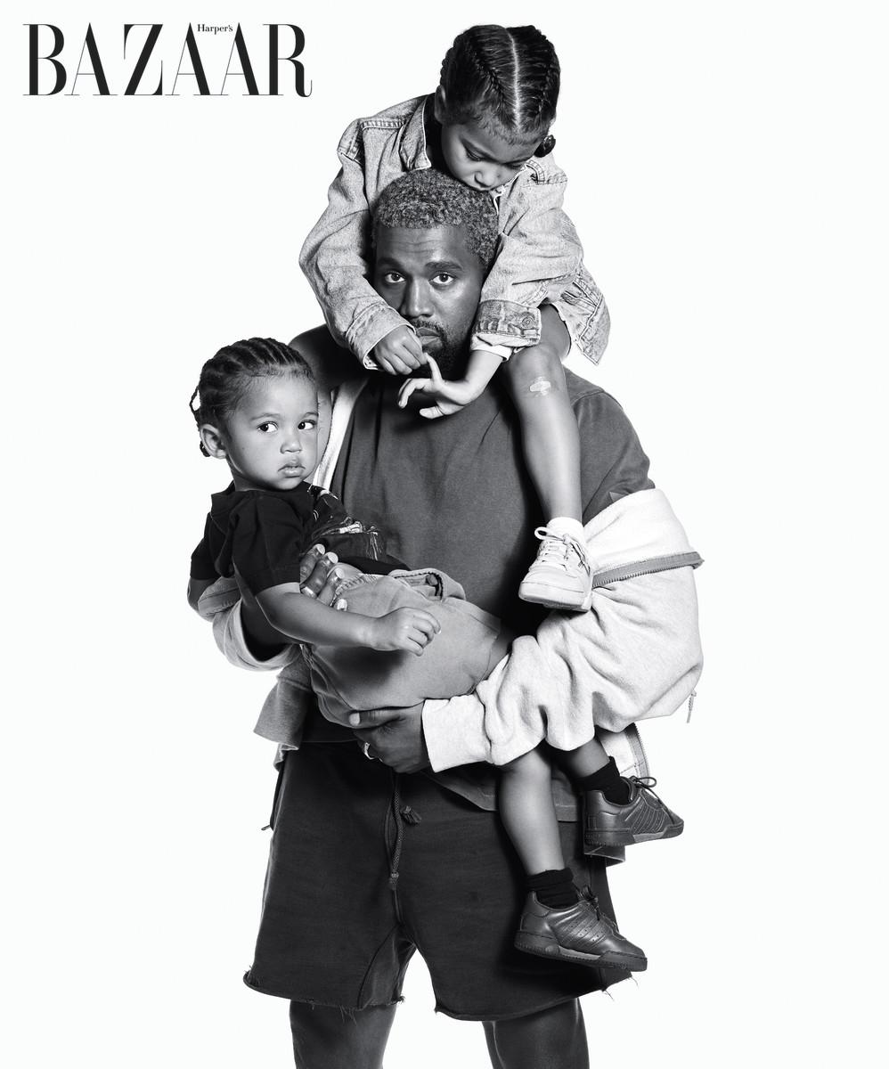 Kanye, North and Saint West. Photo: Mario Sorrenti/Harper's Bazaar