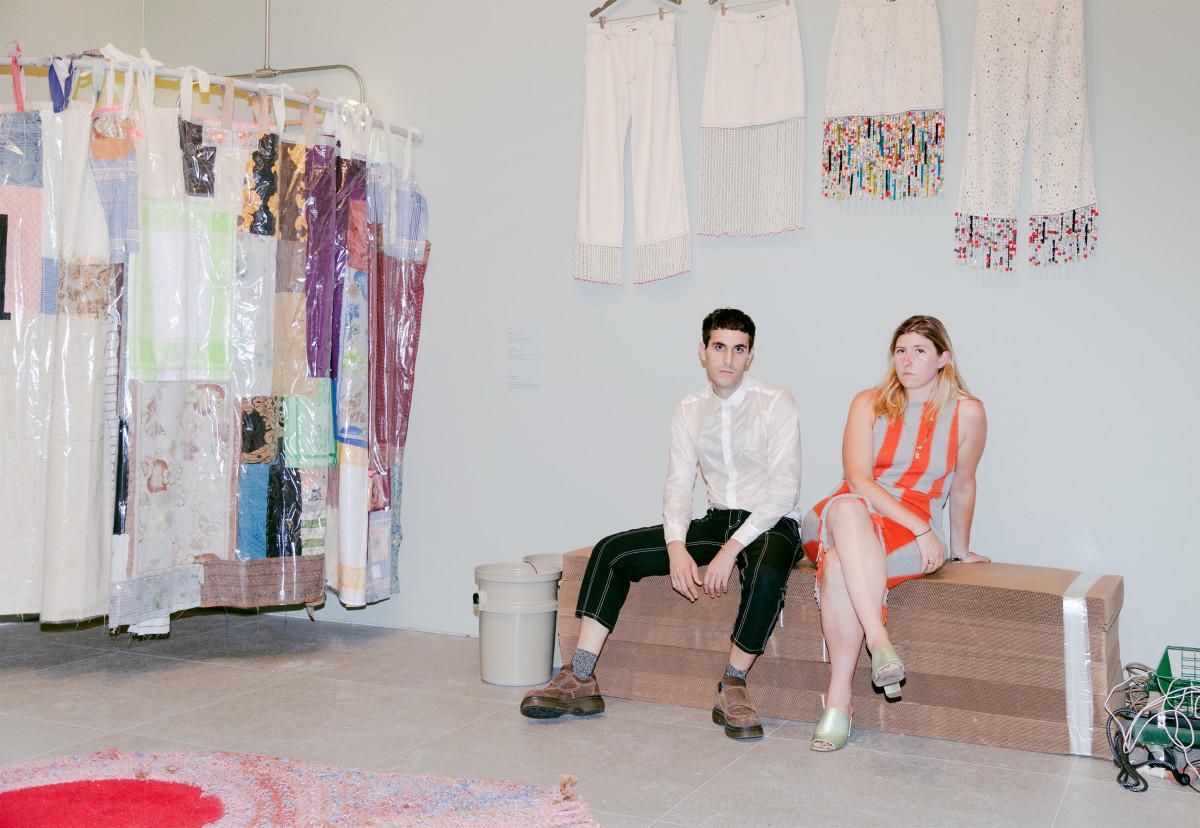 Mike Eckhaus and Zoe Latta inside their Whitney Museum exhibition. Photo: Thomas McCarty