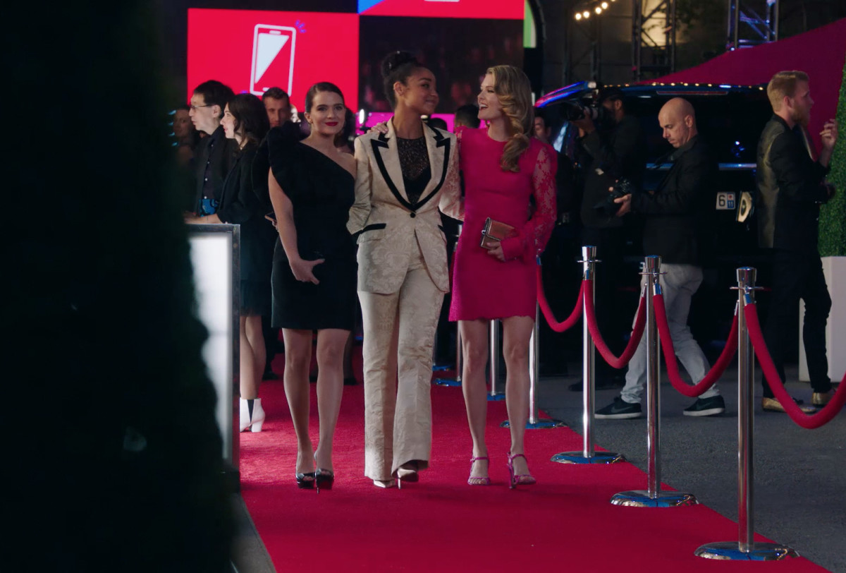 Jane (Katie Stevens), Kat in Gucci (Aisha Dee) and Sutton (Meghann Fahy) nail PFW. Photo: Freeform