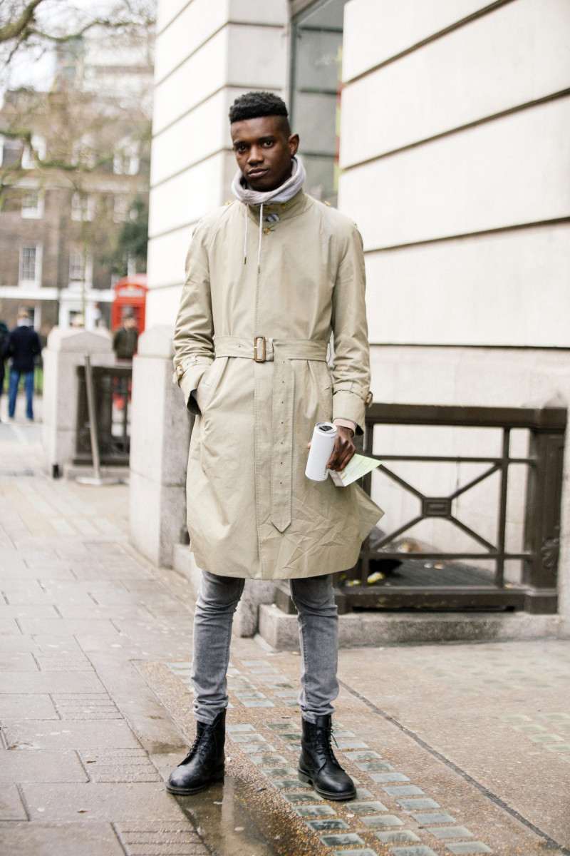 Model George Koh on the street in London. Photo: Melodie Jeng/Getty Images
