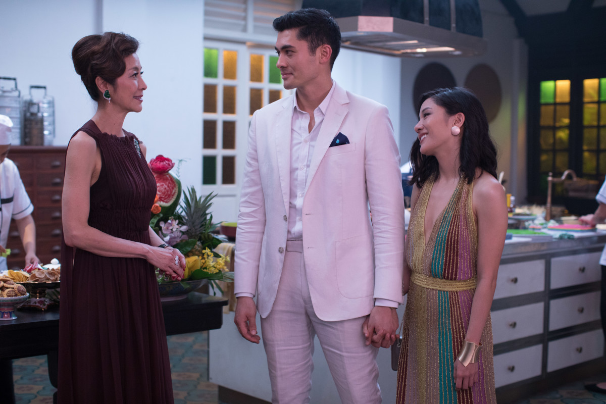 "Eleanor (Michelle Yeoh) in Valentino, ""Asian Bachelor"" Nick (Henry Golding) and Rachel (Constance Wu) in Missoni. Photo: Courtesy of Warner Bros. Pictures"