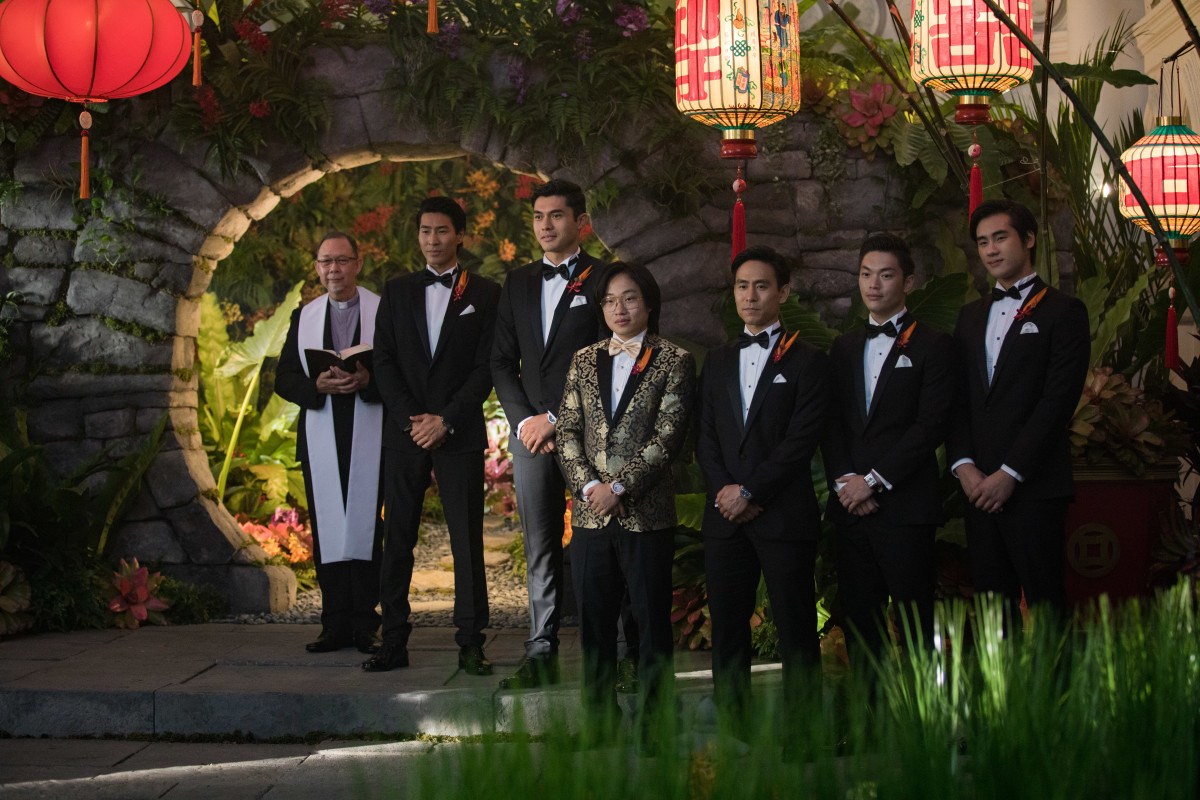 Colin (Chris Pang) and Nick in Dolce & Gabbana and Bernard (Jimmy O. Yang) in Aston Blake. Photo: Sanja Bucko