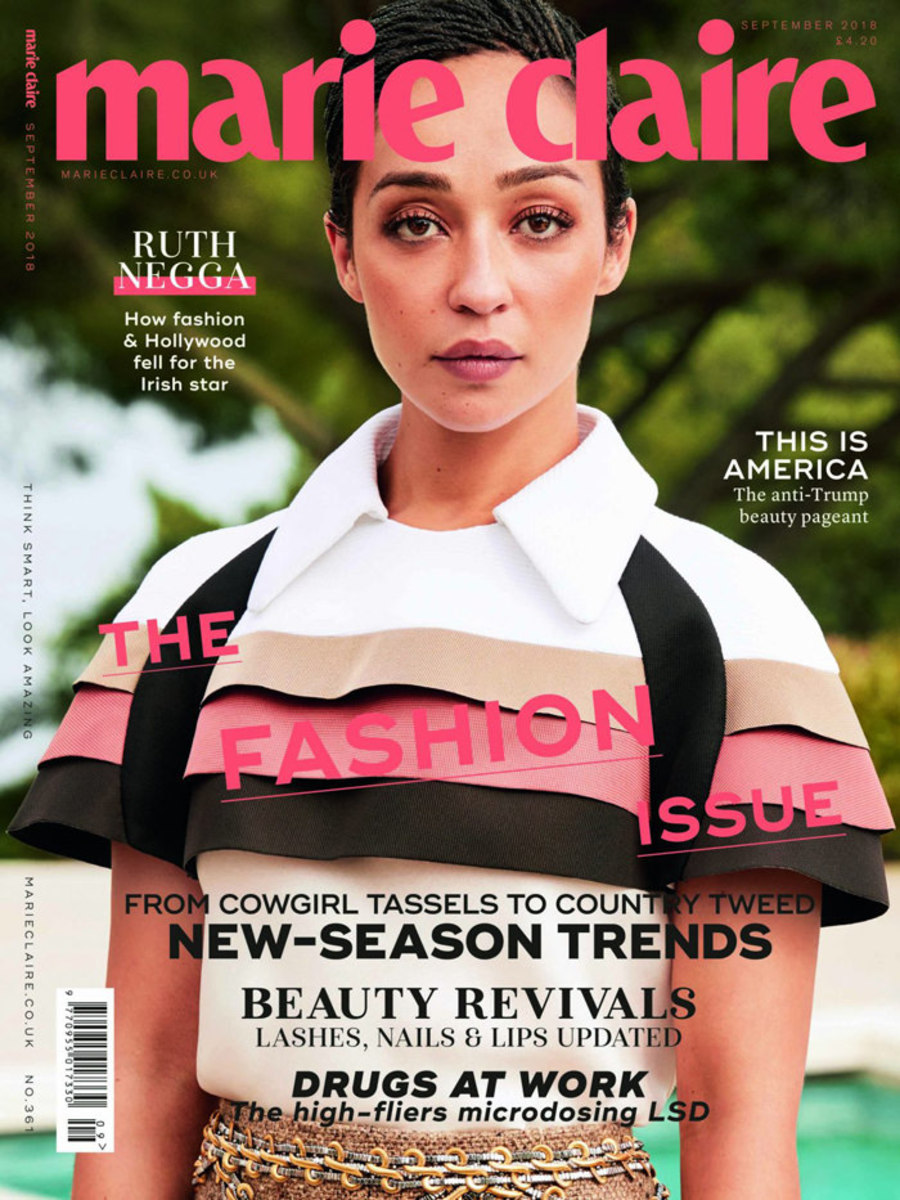 Ruth Negga on the cover of Marie Claire UK. Photo: Tesh/Marie Claire UK