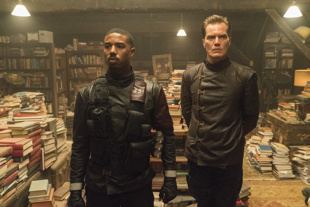 Guy Montag (Michael B. Jordan) and Captain Beatty (Michael Shannon). Michael Gibson/HBO