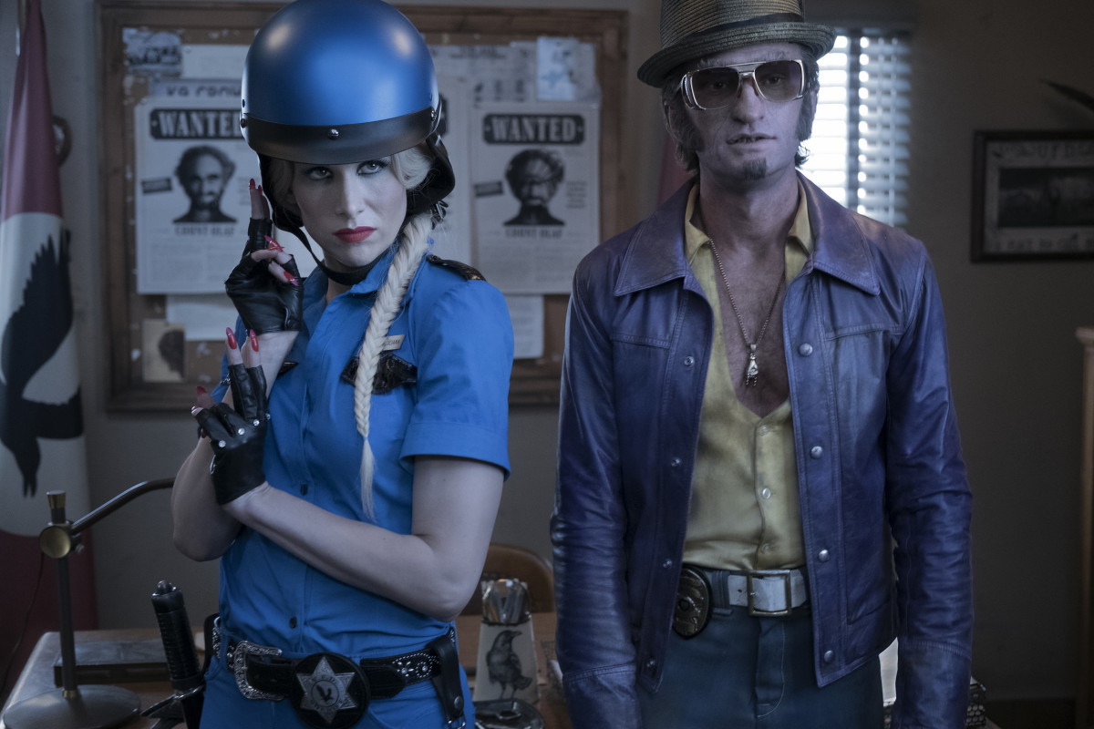 Esmé Squalor (Lucy Punch) and Count Olaf as Detective Dupin (Neil Patrick Harris). Photo: Eike Schroter/Netflix