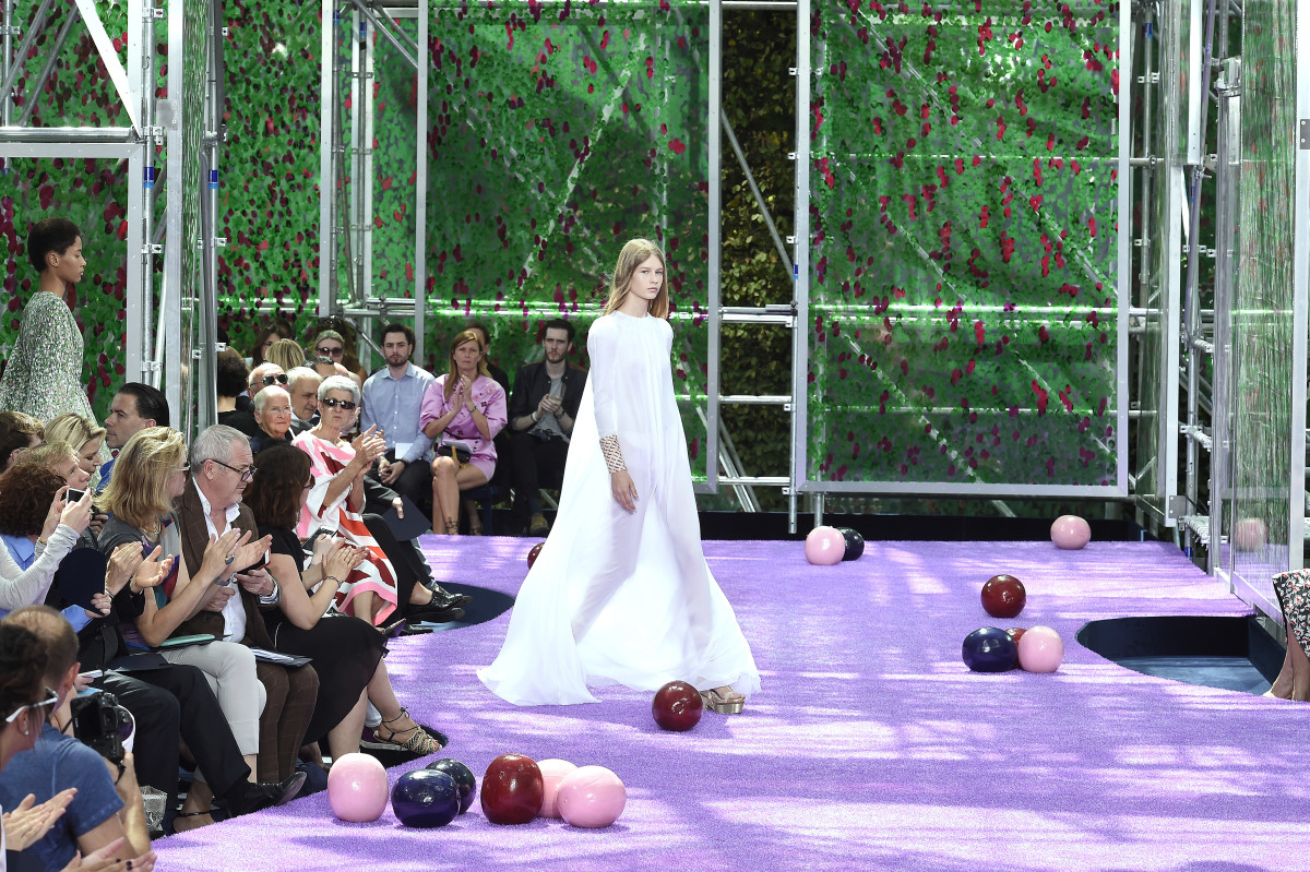 Sofia Mechetner, 14 at the time, walking in Dior's Fall 2015 couture shoe. Photo: Photo by Catwalking/Getty Images
