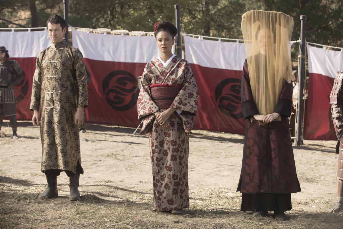 Lee Sizemore (Simon Quarterman), Maeve Millay (Thandie Newton) and Akane (Rinko Kikuchi). Photo: Courtesy of HBO