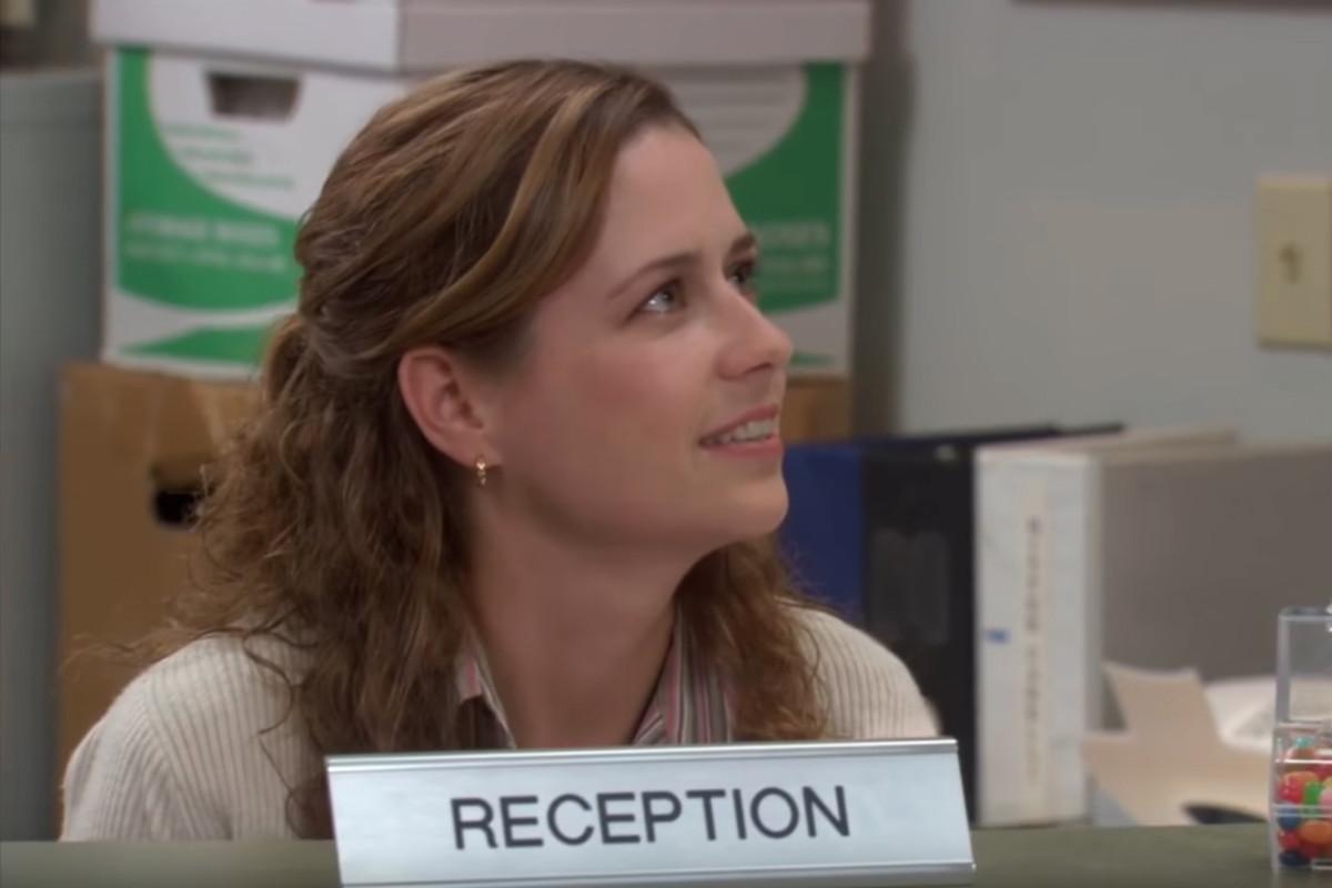 """""""The Office""""'s Pam Beesly, in Season 2, Episode 18, """"Take Your Daughter to Work Day."""" Screengrab: YouTube"""