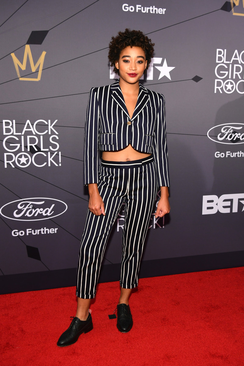 Amandla Stenberg in Thom Browne at BET's Black Girls Rock! 2018 on Sunday at the New Jersey Performing Arts Center. Photo: Dave Kotinsky/Getty Images for BET