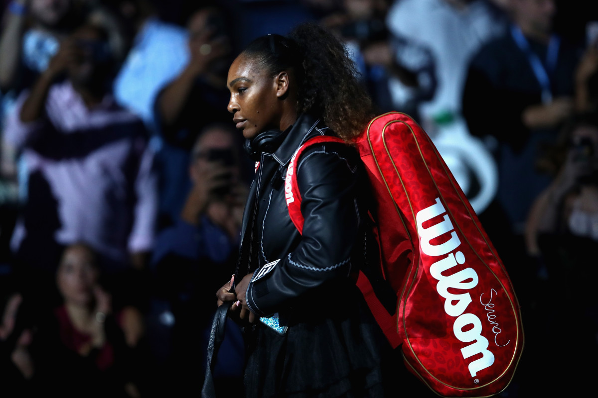 Serena Williams takes the court in Nike x Virgil Abloh on Day 1 of the U.S. Open in Flushing, Queens. Photo: Julian Finney/Getty Images