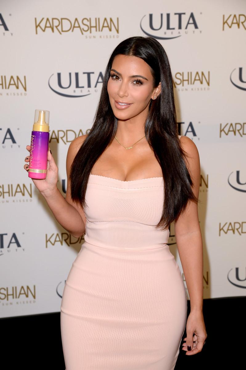 Kim Kardashian at a 2014 event promoting the Kardashian Sun Kissed line at Ulta. Photo: Jason Merritt/Getty Images