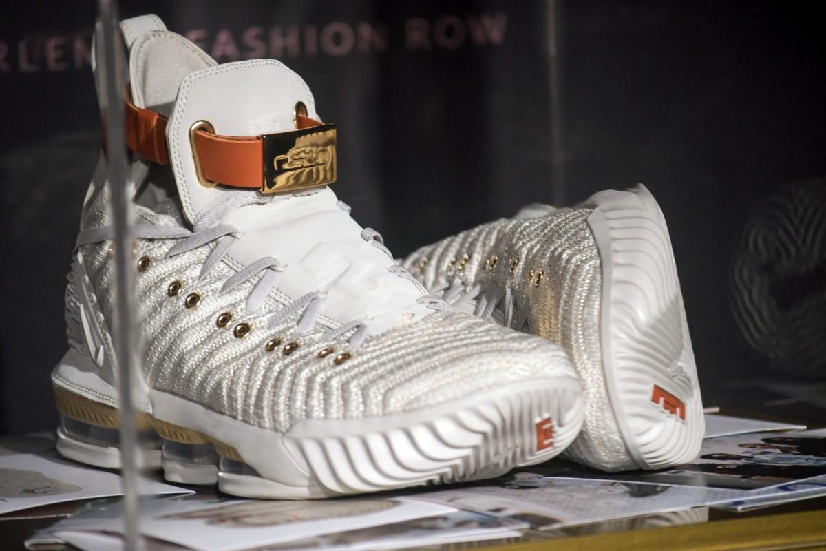 e151fc7b07b The Nike HFR x LeBron 16 sneaker on display at Harlem s Fashion Row. Photo