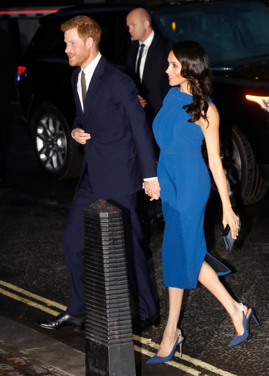 """The Duke and Duchess of Sussex attending a gala concert called """"100 Days to Peace"""" in support of mental health charities. Photo: Getty Images"""