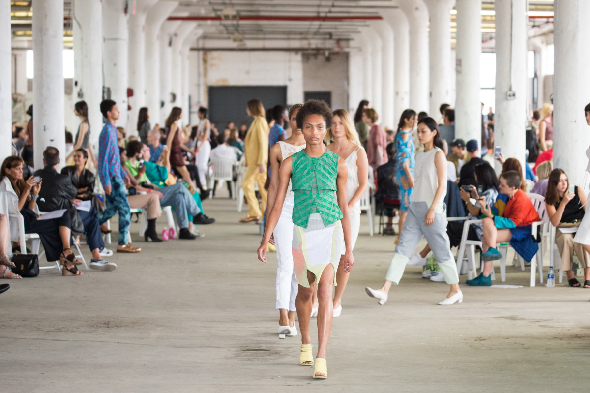 The finale from the Eckhaus Latta Spring 2019 runway.Photo: Imaxtree
