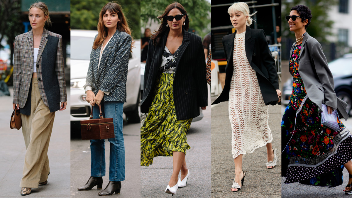 Blazers at New York Fashion Week. Photos: Angela Datre/Fashionista (3), Imaxtree (2)