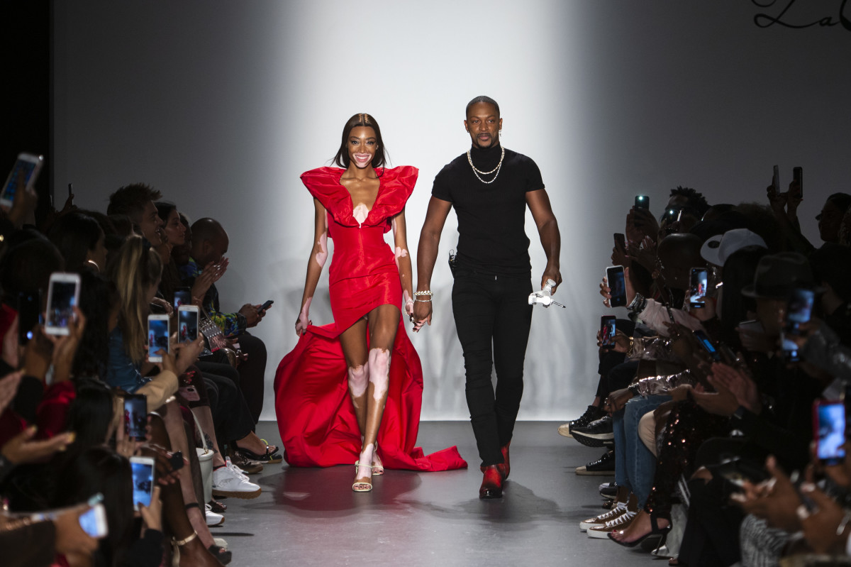 Winnie Harlow and LaQuan Smith at the LaQuan Smith Spring 2019 runway show. Photo: Imaxtree