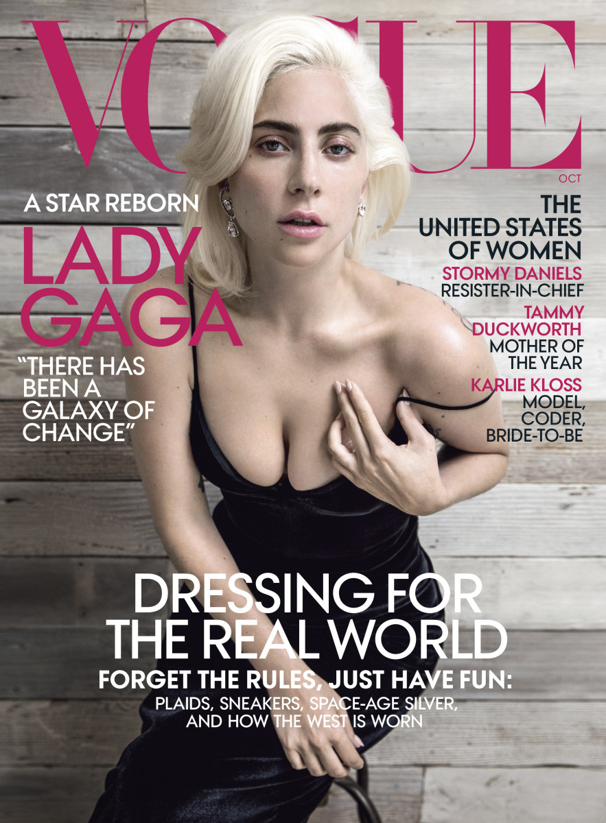 Lady Gaga in Brandon Maxwell on the October 2018 cover of Vogue. Photo: Inez and Vinoodh