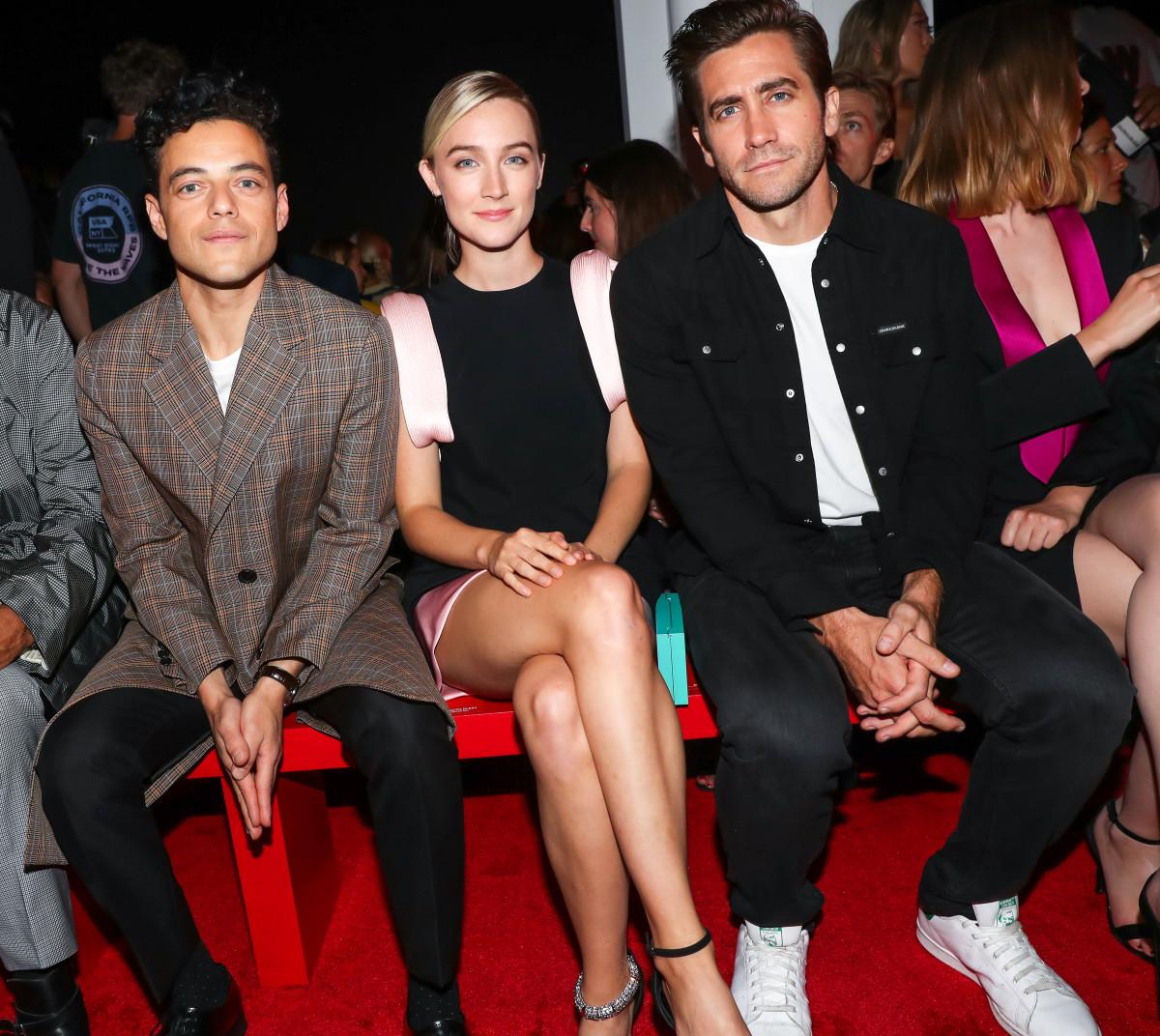 Rami Malek, Saoirse Ronan and Jake Gyllenhaal in the front row at Calvin Klein's Spring 2019 runway show. Photo: BFA/Courtesy of Calvin Klein