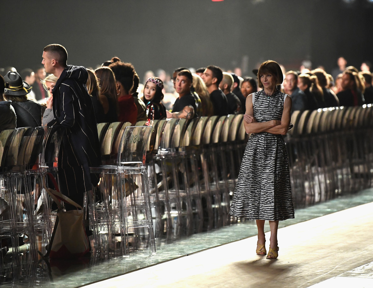 Anna Wintour waiting for the show to start. She stayed. Photo: Dimitrios Kambouris/Getty Images for Marc Jacobs