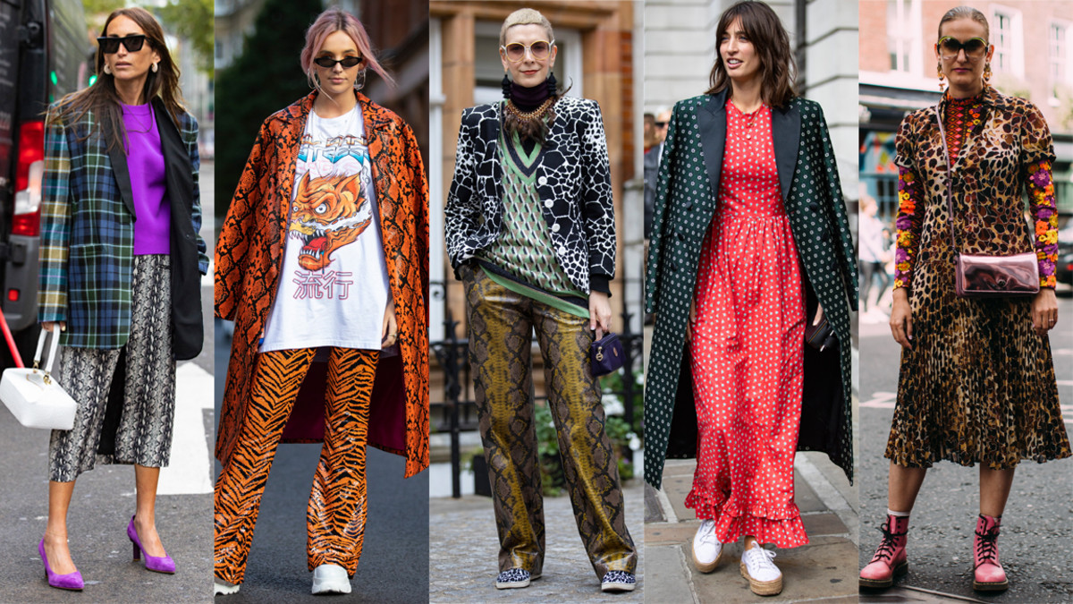 Different prints at London Fashion Week. Photos: Chiara Marina Grioni/Fashionista (4), Imaxtree (1)