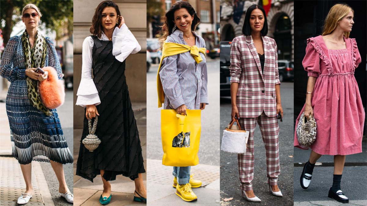 Statement handbags at London Fashion Week. Photo: Imaxtree (4), Chiara Marina Grioni/Fashionista (1)
