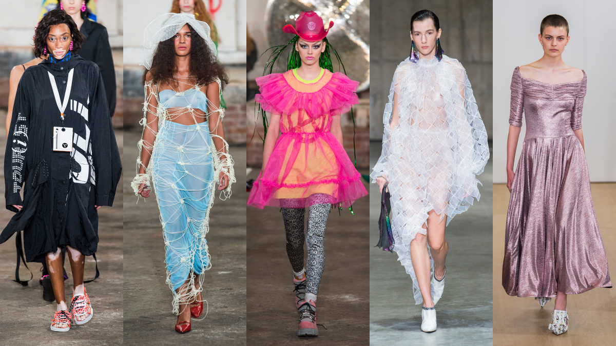 L-R: House of Holland, Yuhan Wang, Nicopanda, Christopher Kane, Emilia Wickstead. Photos: Imaxtree