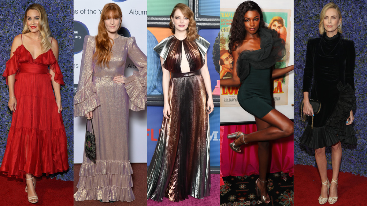 From left to right: Lauren Conrad, Florence Welch, Emma Stone, Leomie Anderson and Charlize Theron. Photos: Getty Images