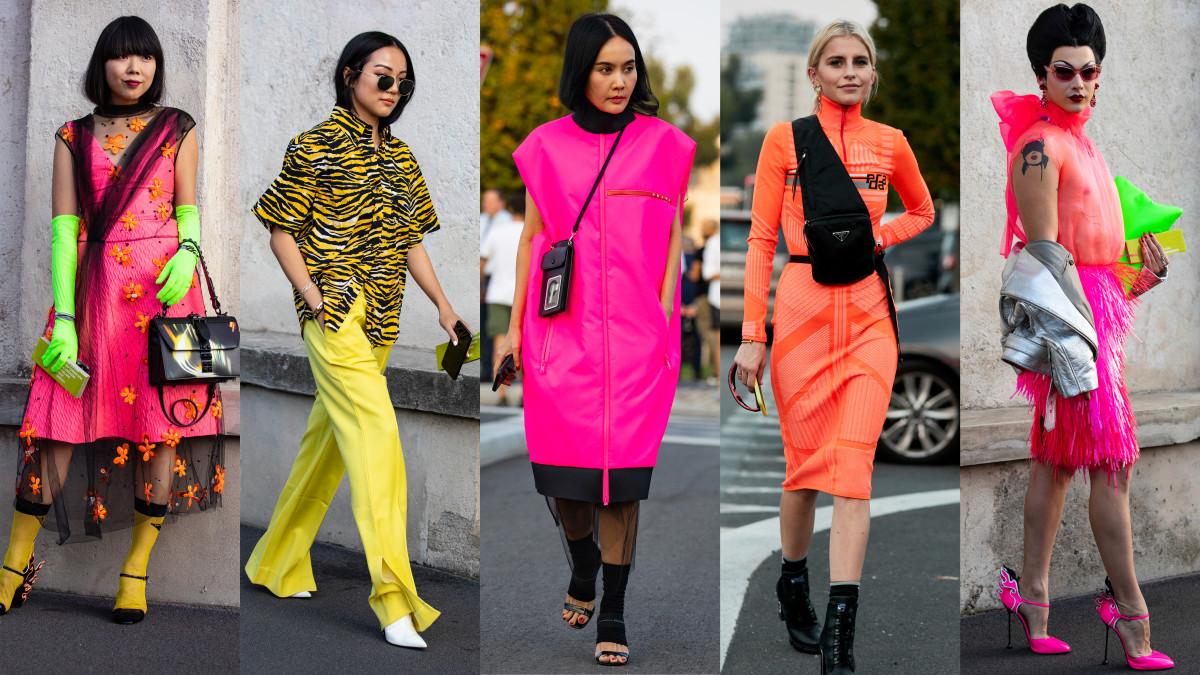 Neon on the street at Milan Fashion Week. Photos:Chiara Marina Grioni/Fashionista (4), Imaxtree (1)