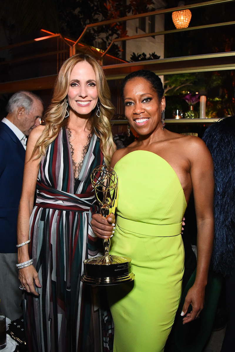 Chairwoman and Chief Executive Officer of Fox Television Group Dana Walden and Emmy winner Regina King at the Fox Broadcasting Company, FX, National Geographic and 20th Century Fox Television 2018 Emmy Nominee Party. Photo: Araya Diaz/Getty Images