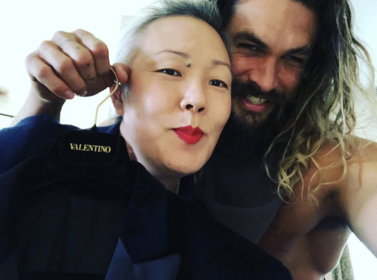 Jeanne Yang and celebrity client Jason Momoa on the job. Since she doesn't post any private client selfies, this one should do, right? Photo: Courtesy Jeanne Yang
