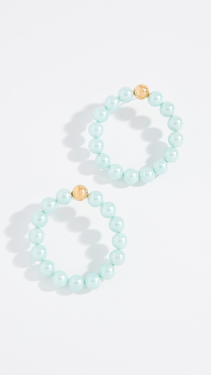 Mirit Weinstock Big Imitation Pearl Hoops, $200, available here.
