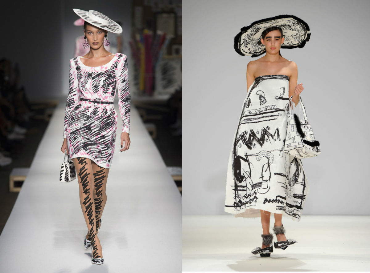 Left: A look from Moschino's Spring 2019 collection. Photo: Imaxtree; Right: A look from Edda Gimnes's Spring 2016 collection. Photo: Eamonn M. McCormack/Getty Images