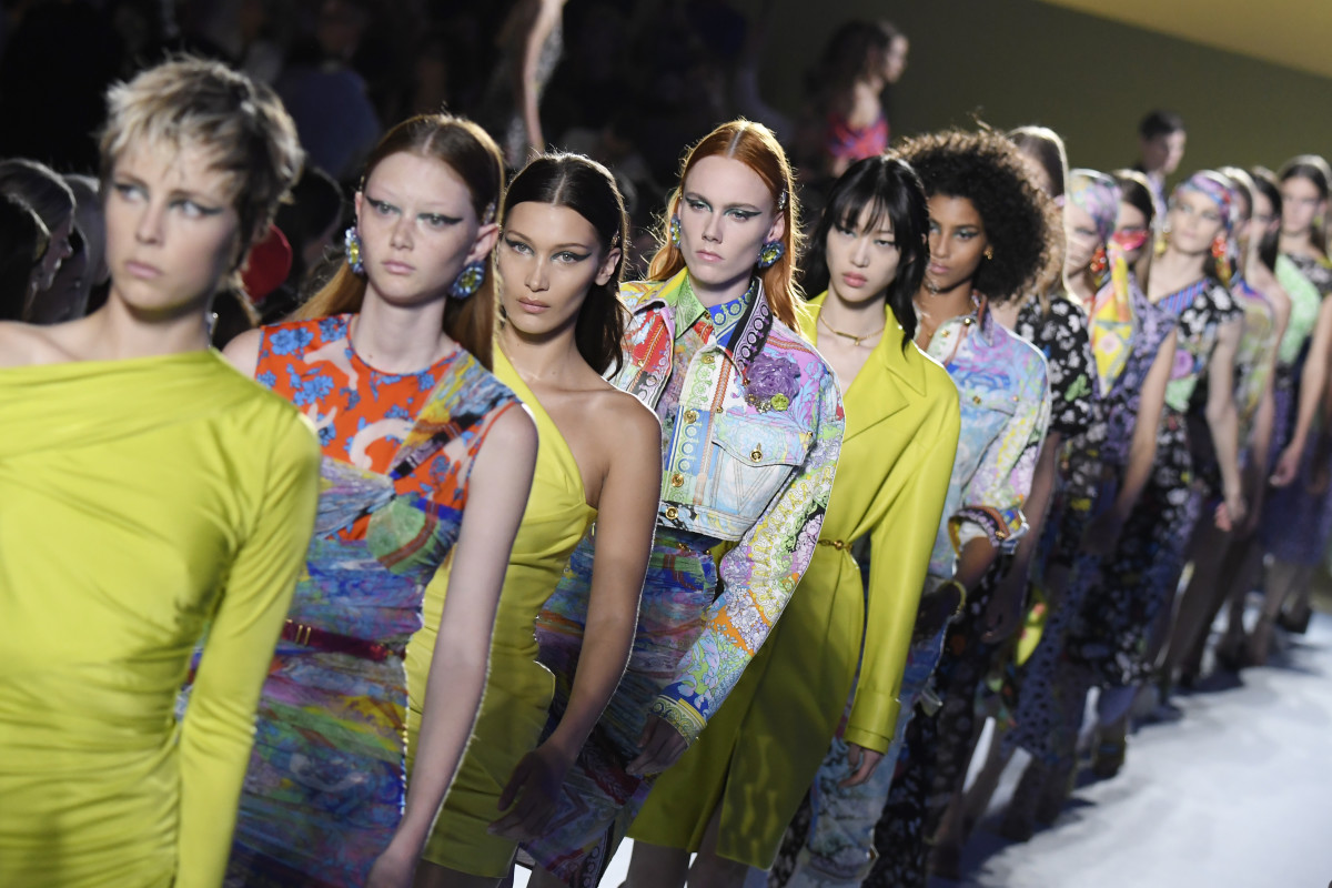 The finale at Versace's Spring 2019 show. Photo: Victor Boyko/Getty Images