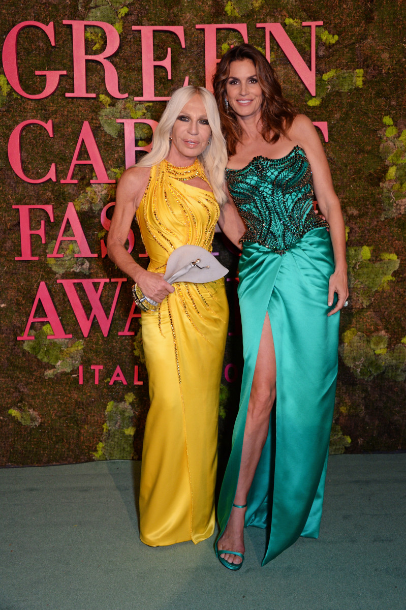 Donatella Versace and Cindy Crawford in Versace at the 2018 Green Carpet Fashion Awards. Photo: Dave Benett/Getty Images