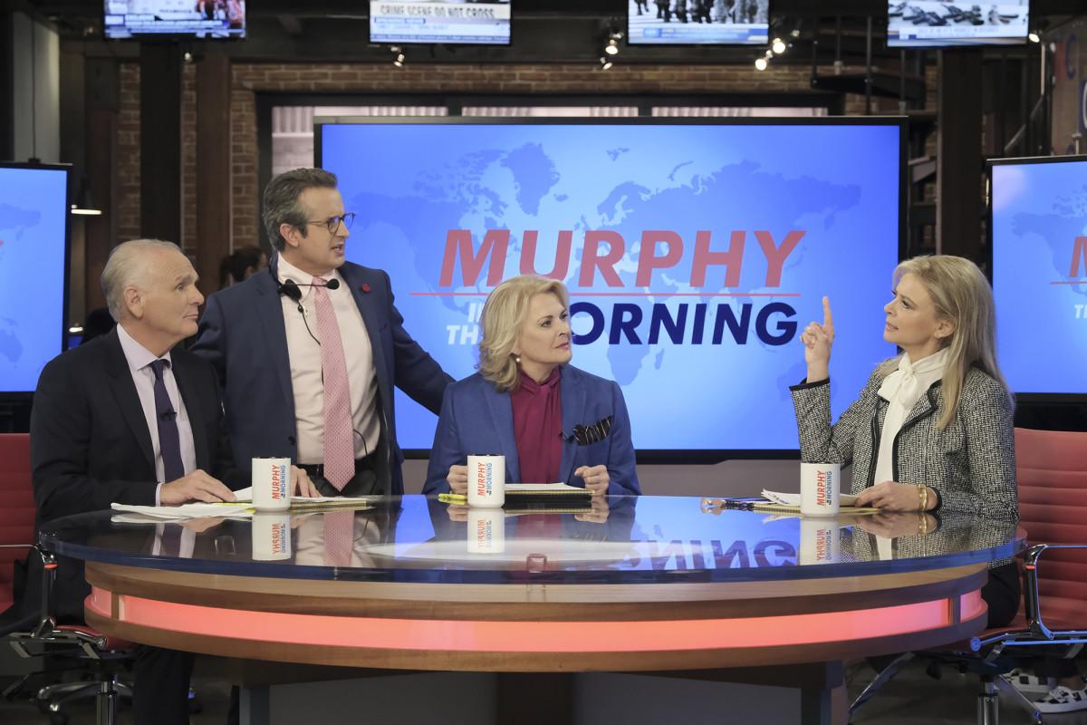 Frank (Joe Regalbuto), Miles (Grant Shaud), Murphy Brown (Candice Bergen) and Corky (Faith Ford). Photo: Jojo Whilden/CBS