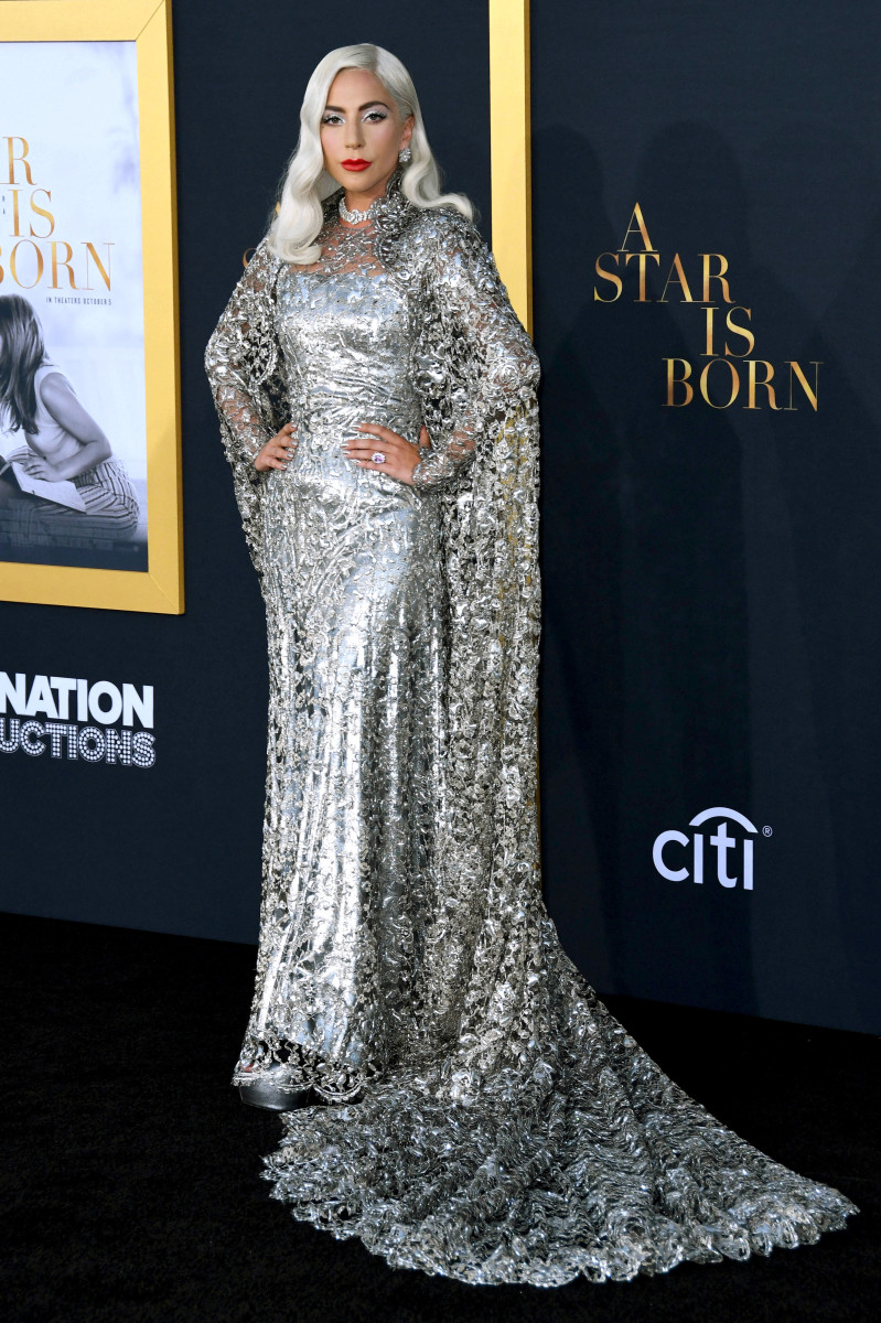 "Lady Gaga in Givenchy Haute Couture at the ""A Star Is Born"" premiere in Los Angeles. Photo: Courtesy of Givenchy"