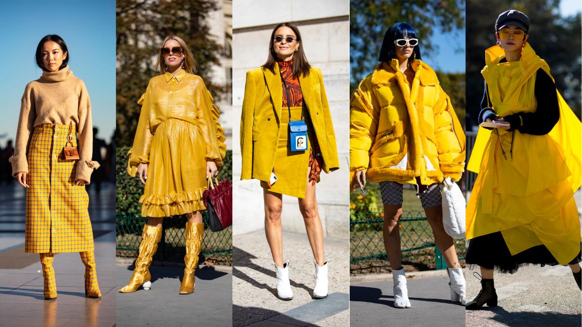 Mustard yellow at Paris Fashion Week. Photos:Chiara Marina Grioni/Fashionista (4); Imaxtree (1)