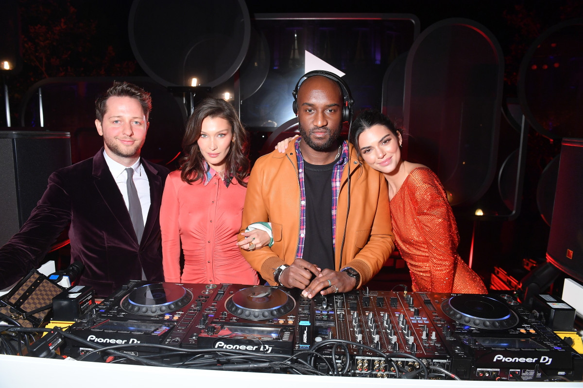 Derek Blasberg, Bella Hadid, Virgil Abloh and Kendall Jenner at the YouTube cocktail party during Paris Fashion Week. Photo: Victor Boyko/Getty Images
