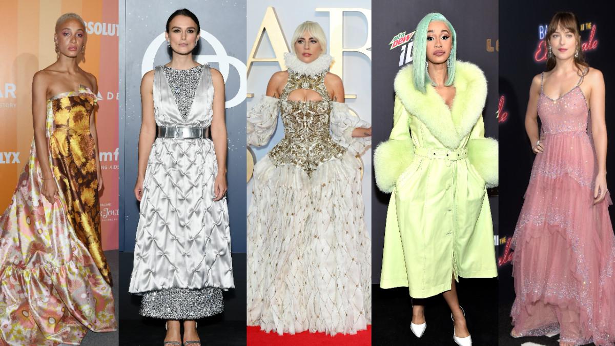 Adwoa Aboah, Keira Knightley, Lady Gaga, Cardi B and Dakota Johnson. Photos: Getty Images